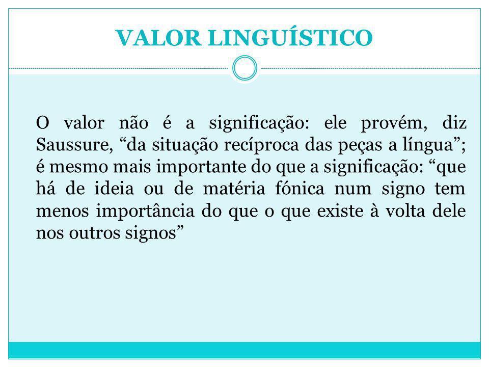 VALOR LINGUÍSTICO O valor não é a significação: ele provém, diz Saussure, da situação recíproca das peças a língua; é mesmo mais importante do que a s