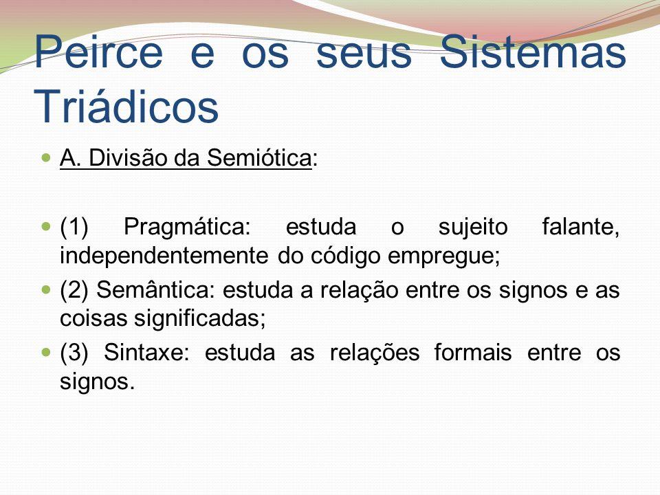 Peirce e os seus Sistemas Triádicos A. Divisão da Semiótica: (1) Pragmática: estuda o sujeito falante, independentemente do código empregue; (2) Semân