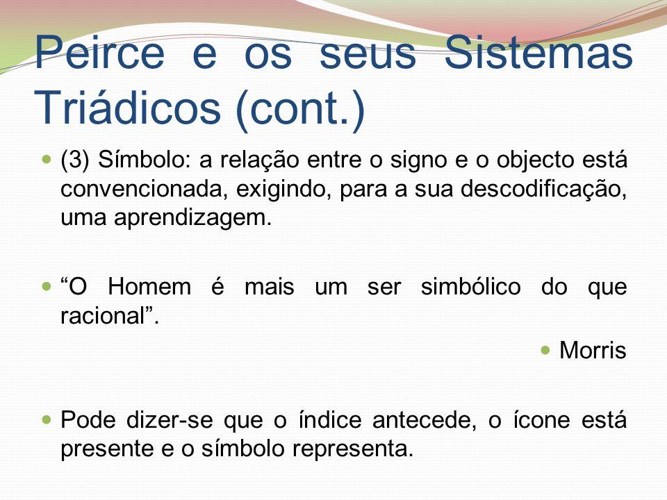 Peirce e os seus Sistemas Triádicos (cont.) (3) Símbolo: a relação entre o signo e o objecto está convencionada, exigindo, para a sua descodificação,