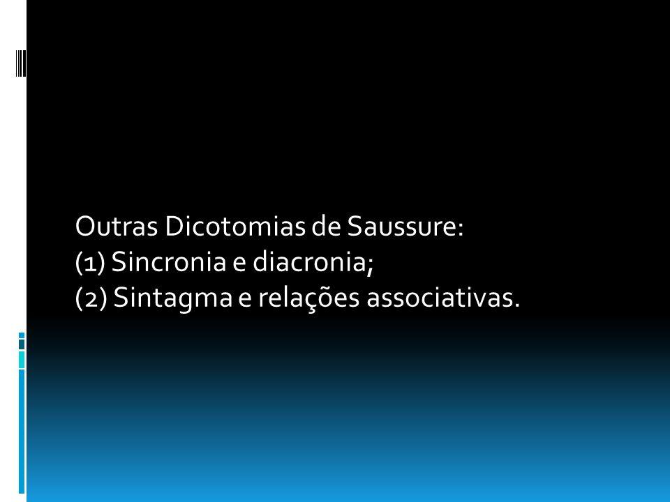 Outras Dicotomias de Saussure: (1) Sincronia e diacronia; (2) Sintagma e relações associativas.