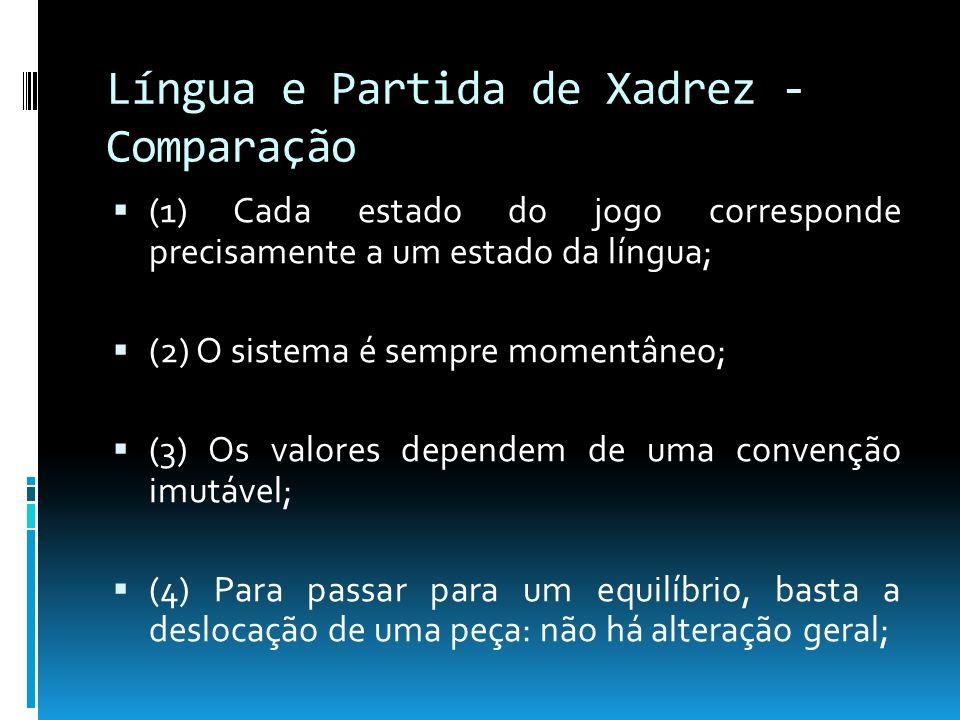 Língua e Partida de Xadrez - Comparação (1) Cada estado do jogo corresponde precisamente a um estado da língua; (2) O sistema é sempre momentâneo; (3)