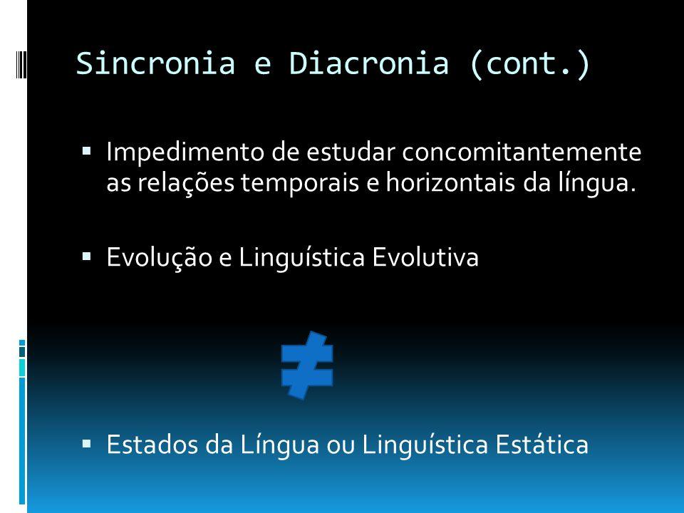 Sincronia e Diacronia (cont.) Impedimento de estudar concomitantemente as relações temporais e horizontais da língua. Evolução e Linguística Evolutiva