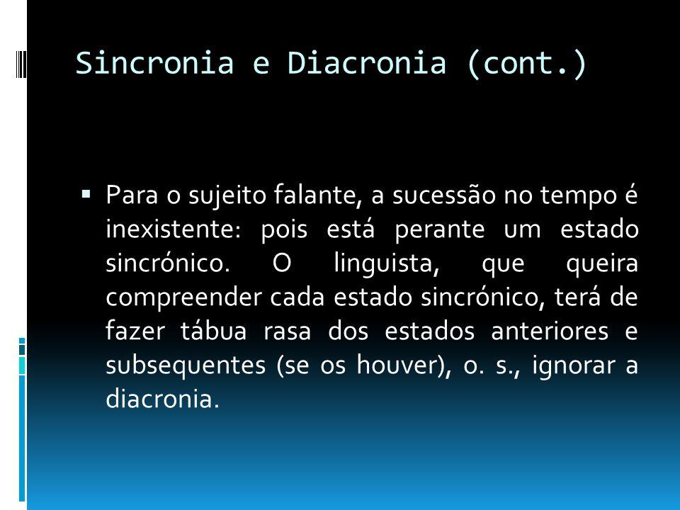 Sincronia e Diacronia (cont.) Reflexões: (1) Um facto sincrónico é um acontecimento que tem, em si mesmo, a sua razão de ser; as consequências sincrónicas particulares, que dele possam advir, são-lhe totalmente estranhas; (2) os factos diacrónicos não conduzem a uma alteração do sistema: só certos elementos são alterados.