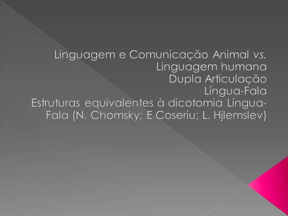 (1) Intenção clara e definida: há sempre um propósito no que dizemos, cada acto comunicacional é orientado para um fim específico; Por ex.º: o cão tem diferentes ladrares, mas são muito mais vagos comparativamente à linguagem humana.