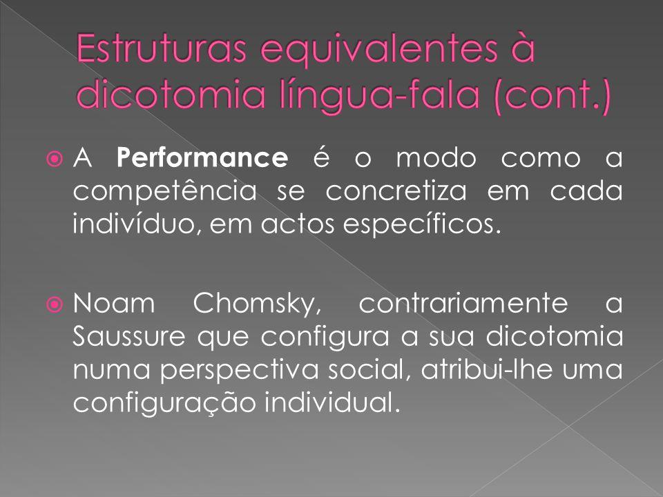 A Performance é o modo como a competência se concretiza em cada indivíduo, em actos específicos. Noam Chomsky, contrariamente a Saussure que configura