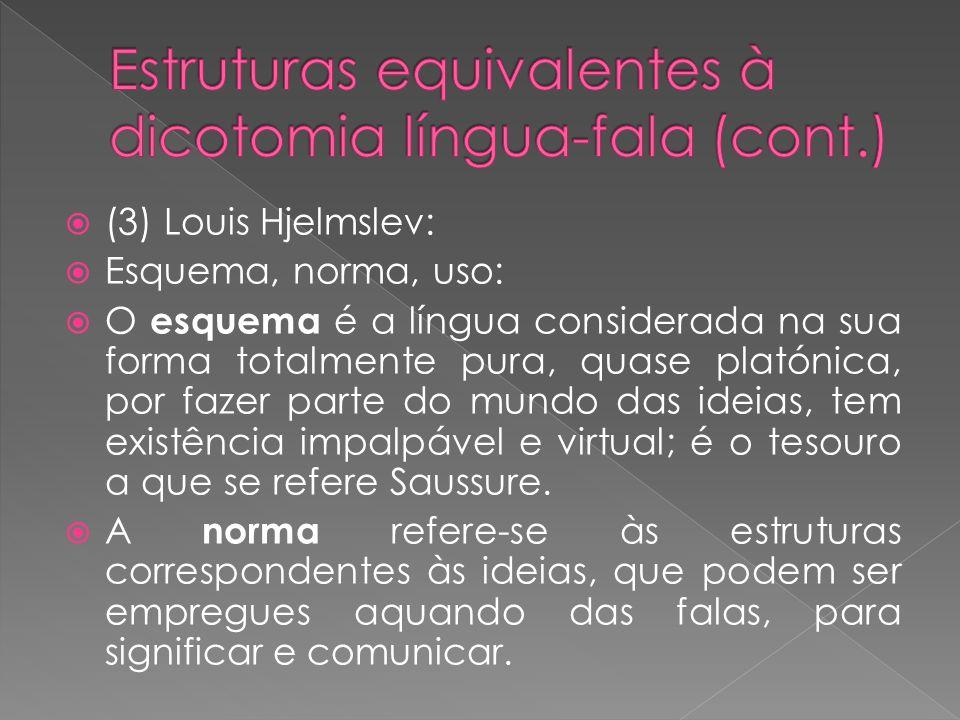 (3) Louis Hjelmslev: Esquema, norma, uso: O esquema é a língua considerada na sua forma totalmente pura, quase platónica, por fazer parte do mundo das