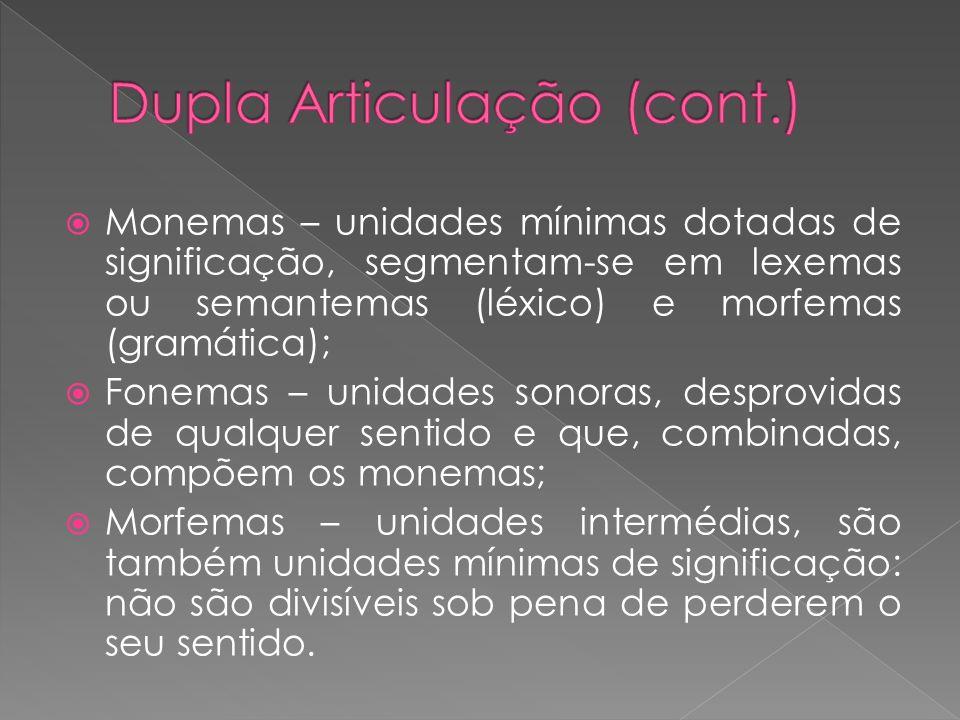 Monemas – unidades mínimas dotadas de significação, segmentam-se em lexemas ou semantemas (léxico) e morfemas (gramática); Fonemas – unidades sonoras,