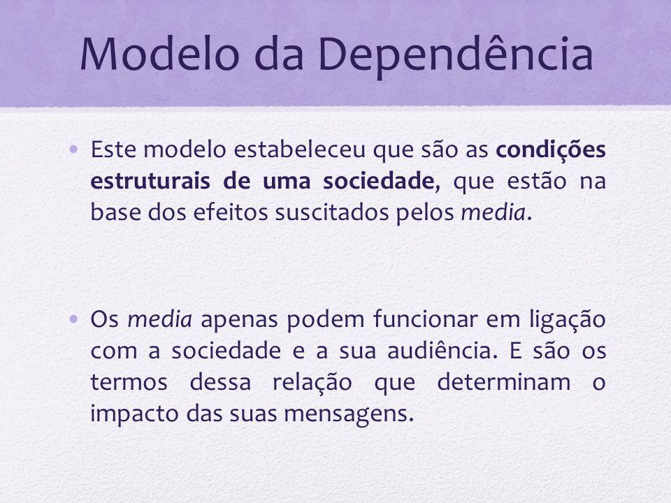 Modelo da Dependência Ou seja: é a relação tripartida entre audiência – sociedade – media, que determina os efeitos dos media.