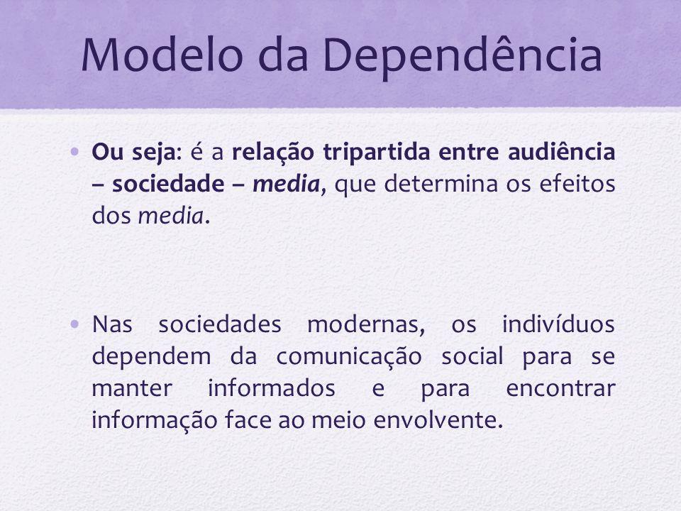 Modelo da Dependência Ou seja: é a relação tripartida entre audiência – sociedade – media, que determina os efeitos dos media. Nas sociedades modernas
