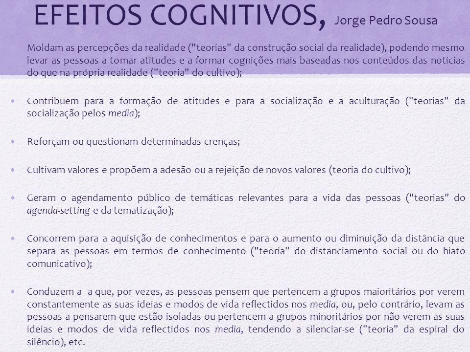 EFEITOS COGNITIVOS, Jorge Pedro Sousa Moldam as percepções da realidade (