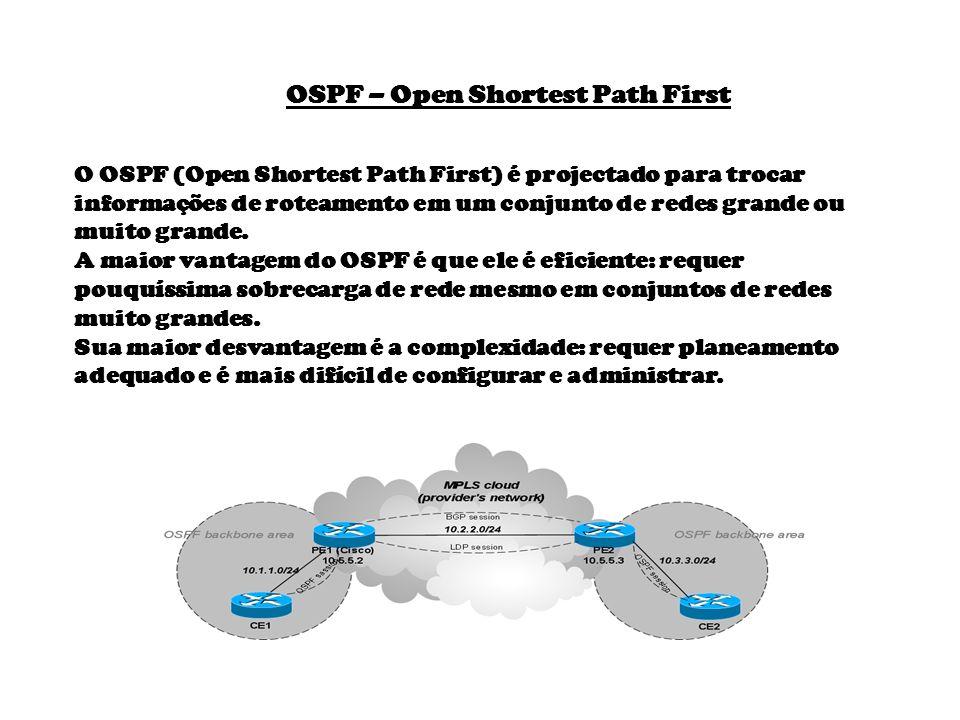 O OSPF (Open Shortest Path First) é projectado para trocar informações de roteamento em um conjunto de redes grande ou muito grande. A maior vantagem