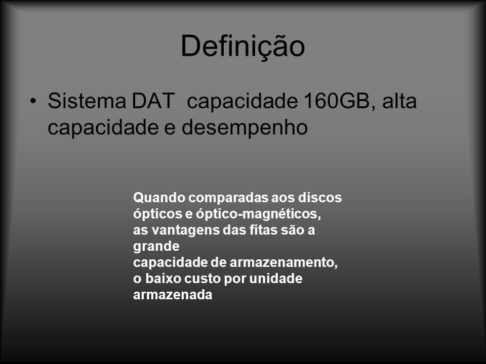 Definição Sistema DAT capacidade 160GB, alta capacidade e desempenho Quando comparadas aos discos ópticos e óptico-magnéticos, as vantagens das fitas
