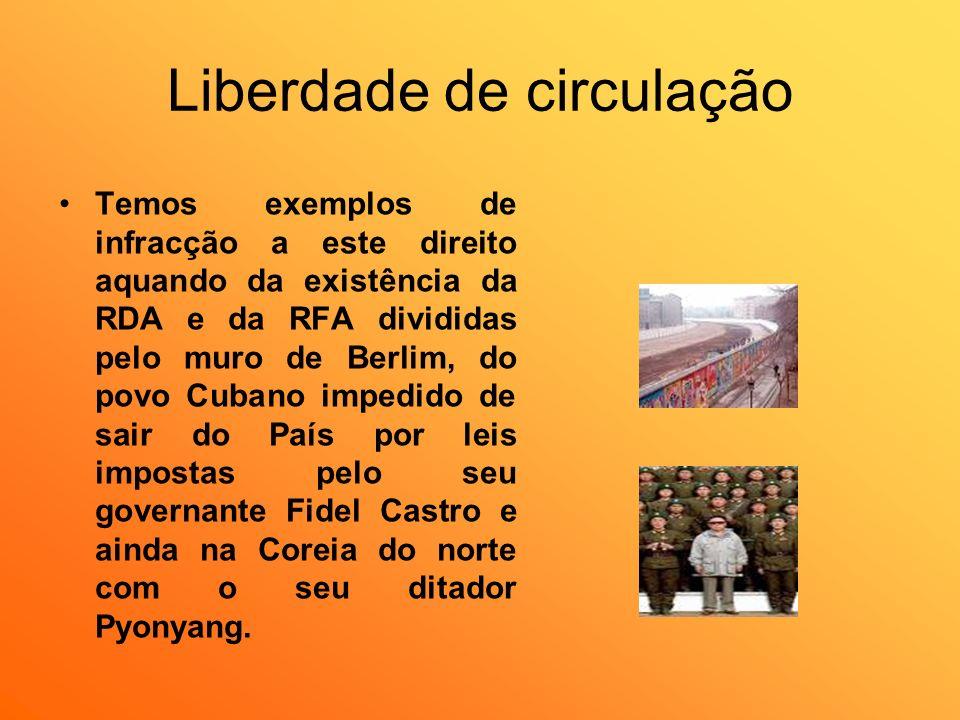 Liberdade de circulação Temos exemplos de infracção a este direito aquando da existência da RDA e da RFA divididas pelo muro de Berlim, do povo Cubano
