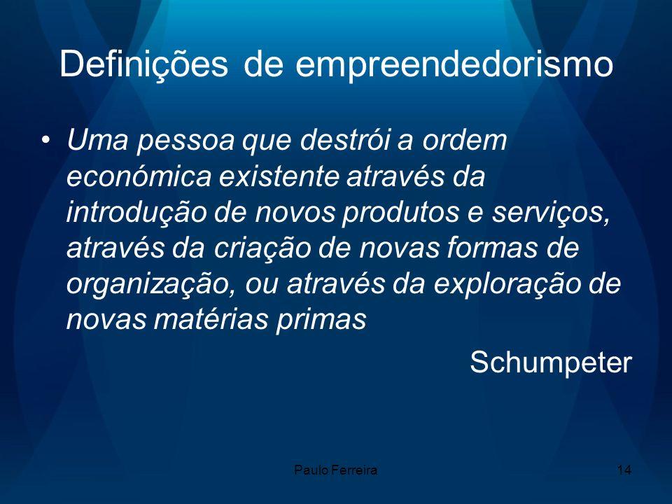 Paulo Ferreira14 Definições de empreendedorismo Uma pessoa que destrói a ordem económica existente através da introdução de novos produtos e serviços,