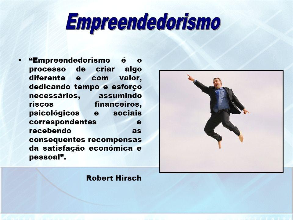 Empreendedorismo é o processo de criar algo diferente e com valor, dedicando tempo e esforço necessários, assumindo riscos financeiros, psicológicos e