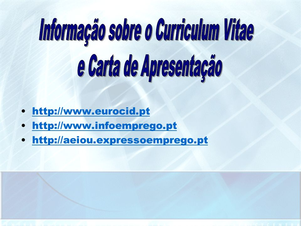 http://pt.wikipedia.org/wiki/Empreendedorismo http://cdp.portodigital.pt/empreendedorismo http://www.tecnet.pt/portugal/23650.html http://pt.wikipedia.org/wiki/Internet http://pt.wikipedia.org/wiki/Empregabilidade http://www.psicologia.com.pt/artigos/ver_opiniao.php?codigo=AOP0129 http://www.eurocid.pt http://www.infoemprego.pt http://aeiou.expressoemprego.pt