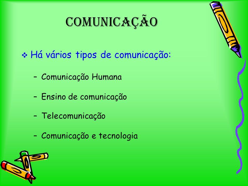 Comunicação Há vários tipos de comunicação: –C–Comunicação Humana –E–Ensino de comunicação –T–Telecomunicação –C–Comunicação e tecnologia