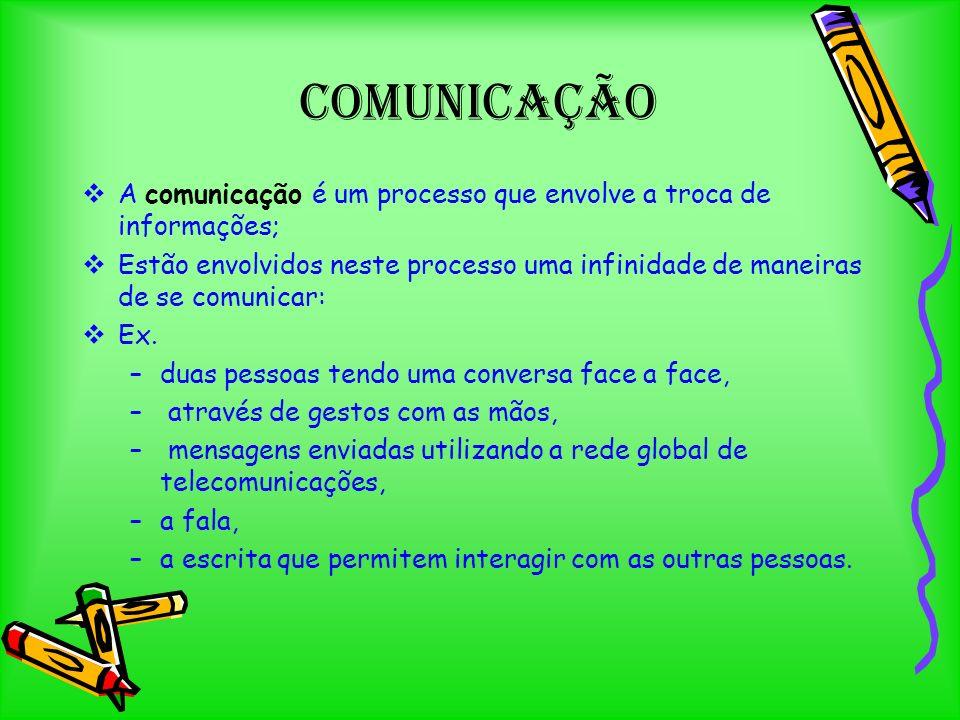 A comunicação é um processo que envolve a troca de informações; Estão envolvidos neste processo uma infinidade de maneiras de se comunicar: Ex.