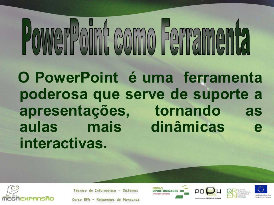 O PowerPoint é uma ferramenta poderosa que serve de suporte a apresentações, tornando as aulas mais dinâmicas e interactivas.