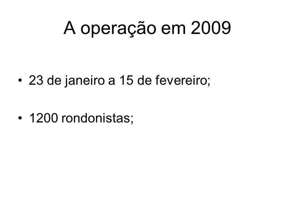 A operação em 2009 23 de janeiro a 15 de fevereiro; 1200 rondonistas;