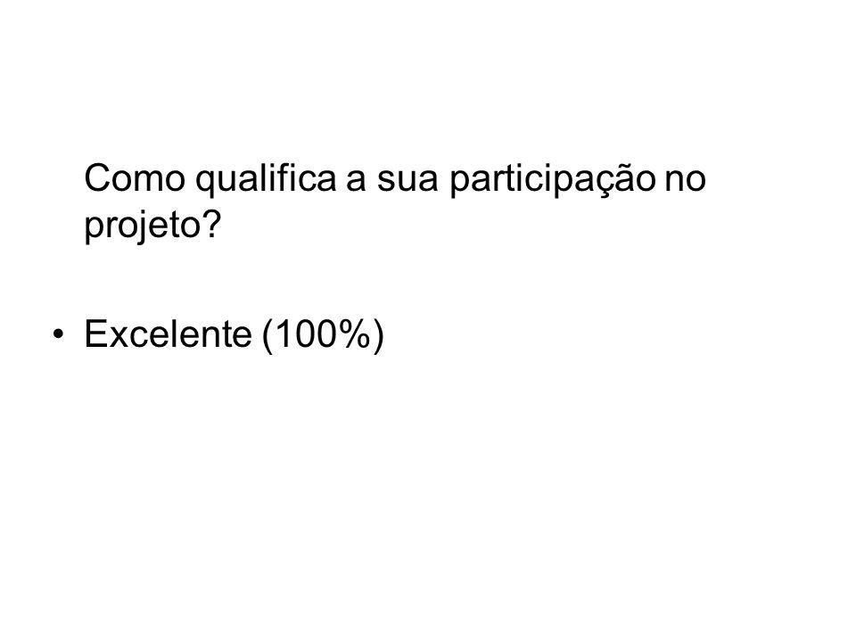 Como qualifica a sua participação no projeto Excelente (100%)