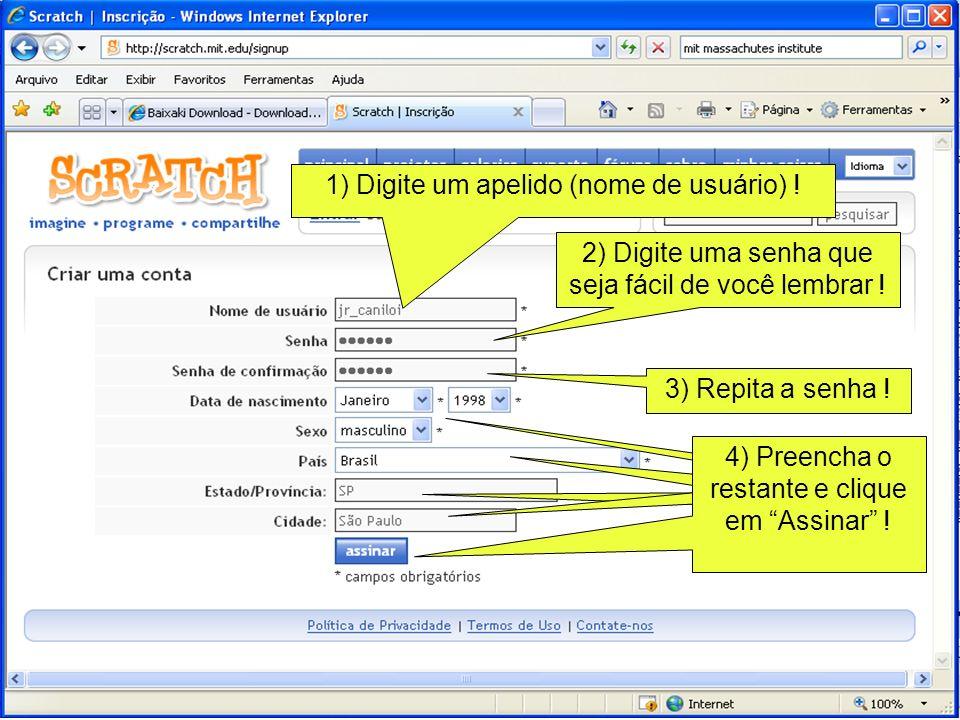 1) Se precisar, clique aqui para fazer o download do Scratch (versão windows) .