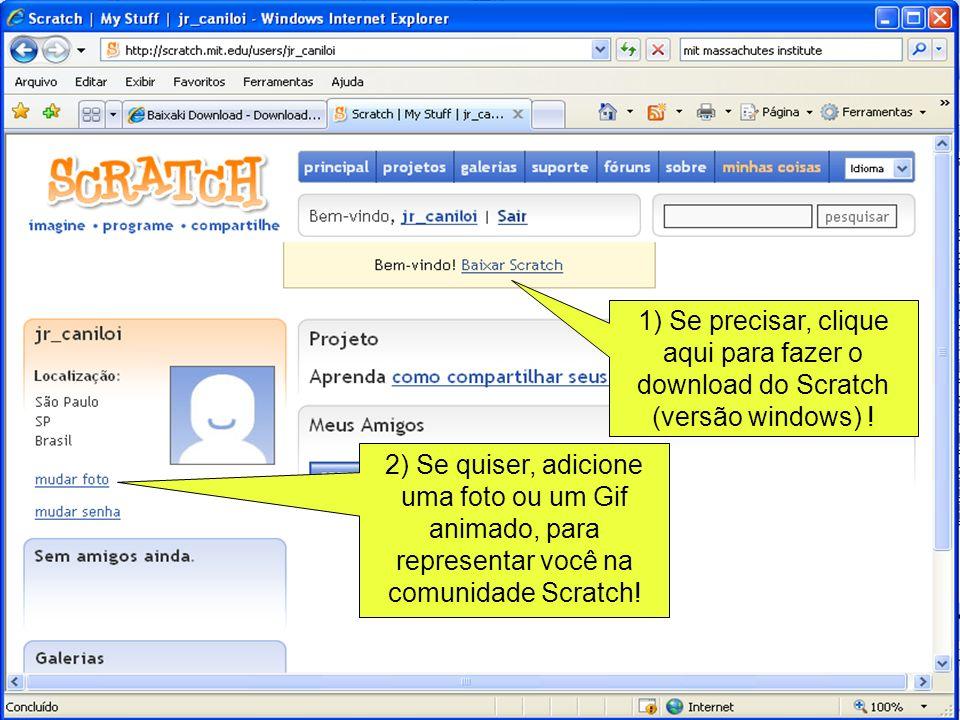 1) Se precisar, clique aqui para fazer o download do Scratch (versão windows) ! 2) Se quiser, adicione uma foto ou um Gif animado, para representar vo