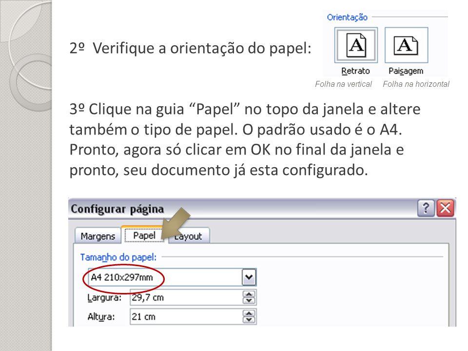 2º Verifique a orientação do papel: 3º Clique na guia Papel no topo da janela e altere também o tipo de papel. O padrão usado é o A4. Pronto, agora só