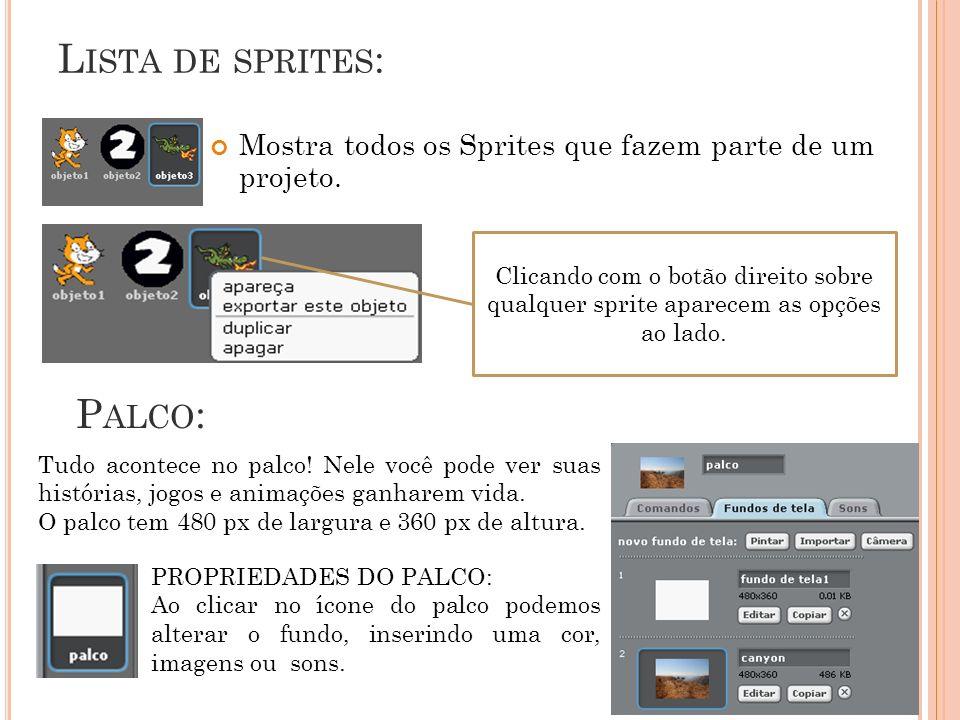 L ISTA DE SPRITES : Mostra todos os Sprites que fazem parte de um projeto. Clicando com o botão direito sobre qualquer sprite aparecem as opções ao la