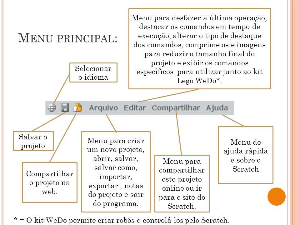 M ENU PRINCIPAL : Selecionar o idioma Salvar o projeto Compartilhar o projeto na web. Menu para criar um novo projeto, abrir, salvar, salvar como, imp