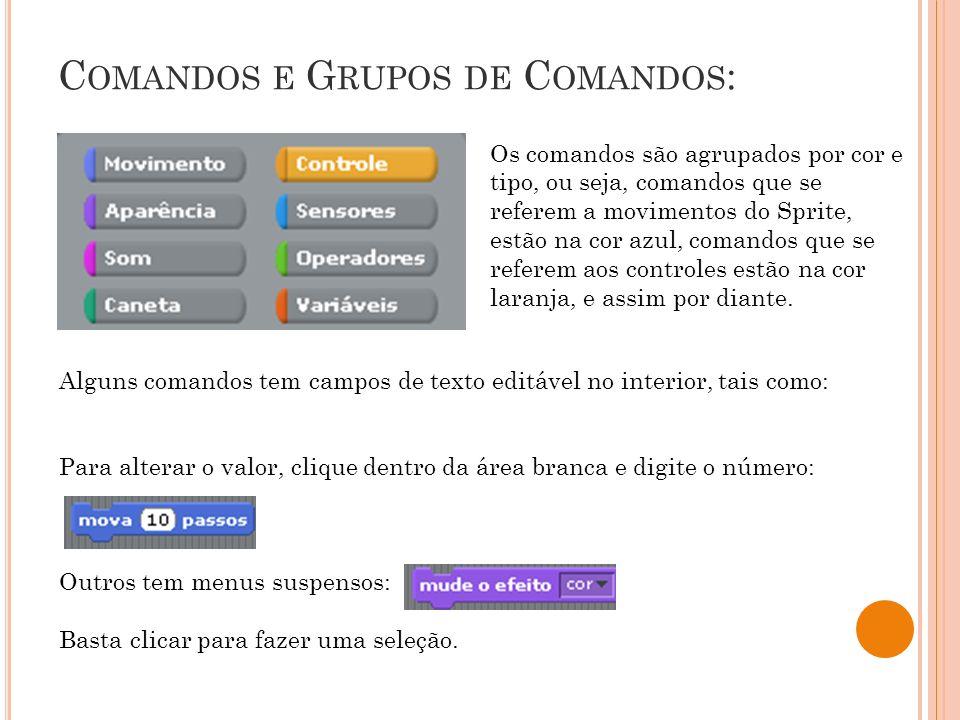 C OMANDOS E G RUPOS DE C OMANDOS : Os comandos são agrupados por cor e tipo, ou seja, comandos que se referem a movimentos do Sprite, estão na cor azu