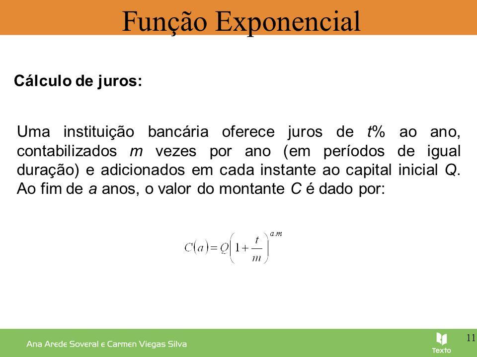 Função Exponencial Uma instituição bancária oferece juros de t% ao ano, contabilizados m vezes por ano (em períodos de igual duração) e adicionados em