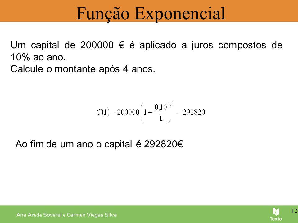 Função Exponencial Um capital de 200000 é aplicado a juros compostos de 10% ao ano. Calcule o montante após 4 anos. Ao fim de um ano o capital é 29282
