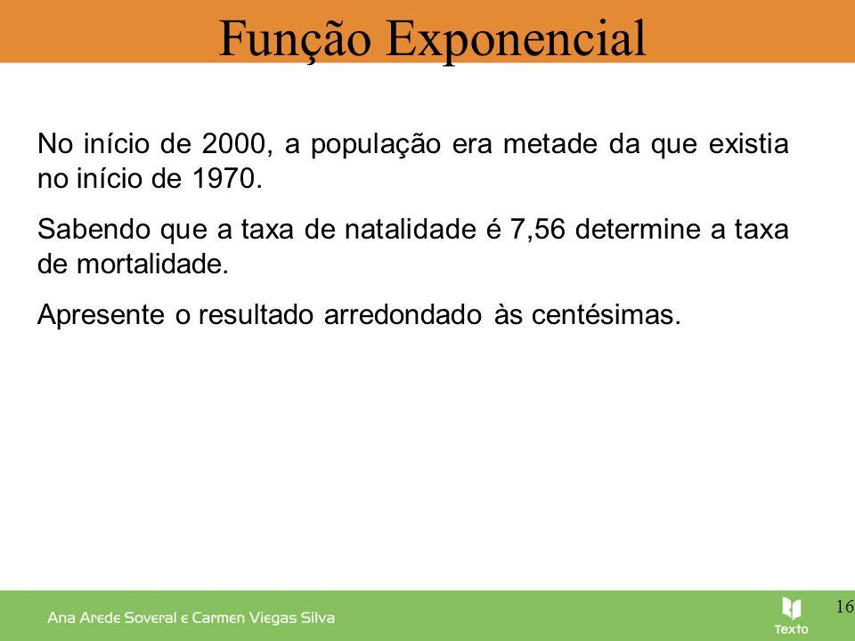 Função Exponencial No início de 2000, a população era metade da que existia no início de 1970. Sabendo que a taxa de natalidade é 7,56 determine a tax