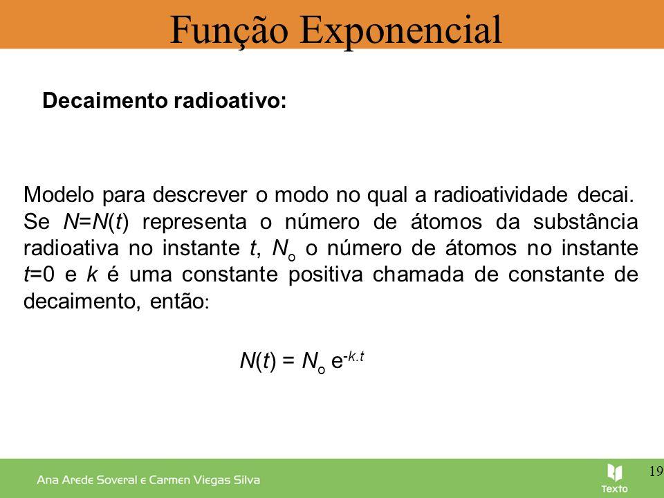 Função Exponencial Decaimento radioativo: Modelo para descrever o modo no qual a radioatividade decai. Se N=N(t) representa o número de átomos da subs