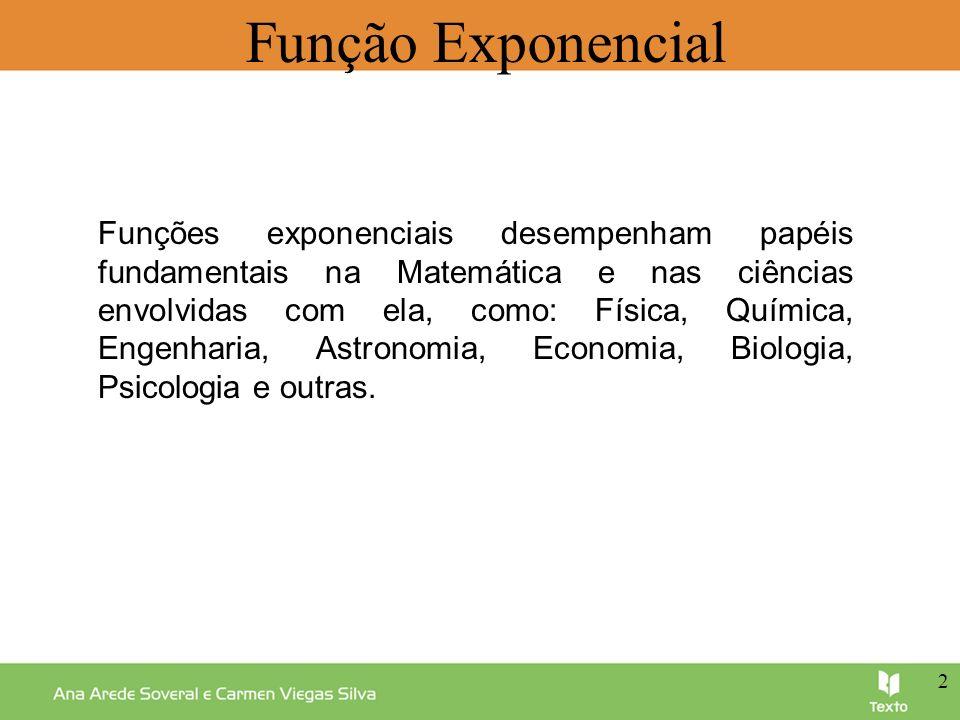 Função Exponencial Alguns exemplos de aplicações desta função na vida real são: o decaimento radioativo; a lei de crescimento de uma população; a determinação da idade de fósseis; o cálculo de juros.