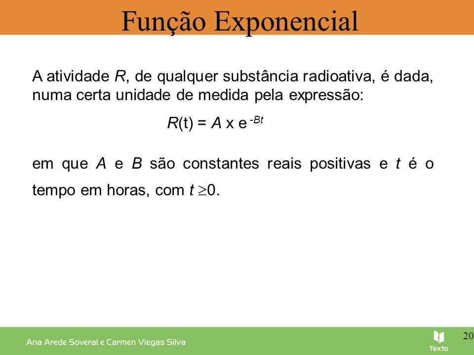 Função Exponencial em que A e B são constantes reais positivas e t é o tempo em horas, com t 0. A atividade R, de qualquer substância radioativa, é da