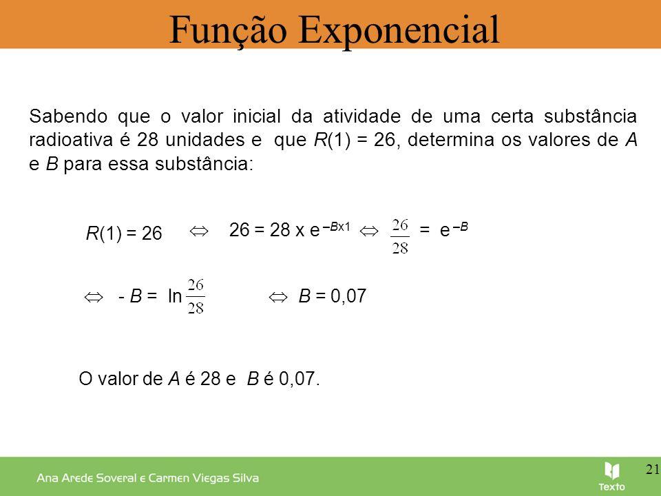 = e –B Função Exponencial Sabendo que o valor inicial da atividade de uma certa substância radioativa é 28 unidades e que R(1) = 26, determina os valo