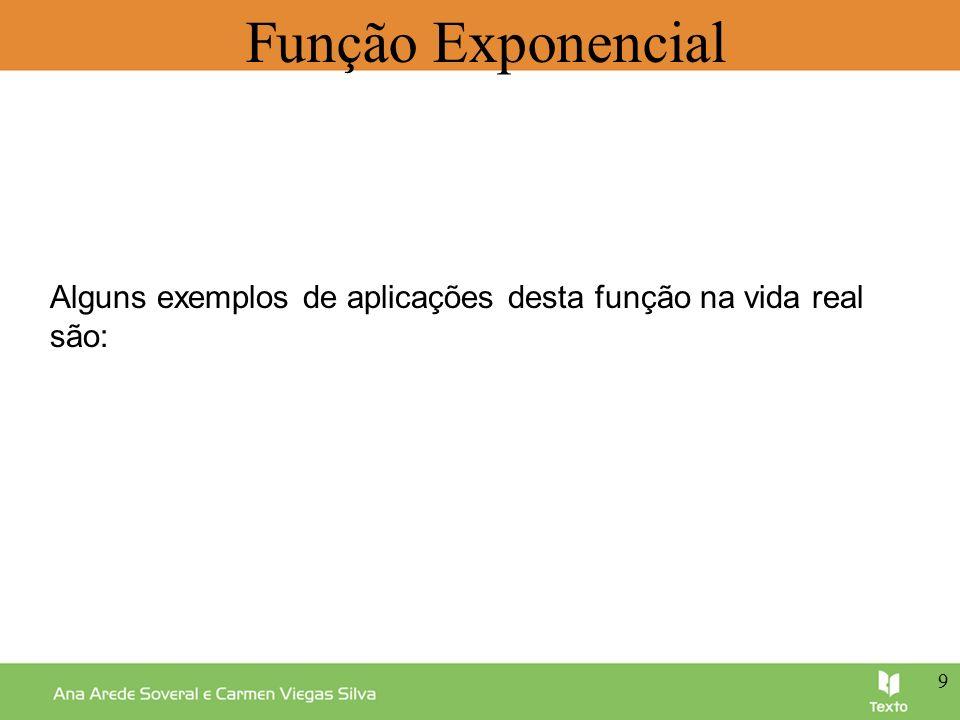 Alguns exemplos de aplicações desta função na vida real são: 9