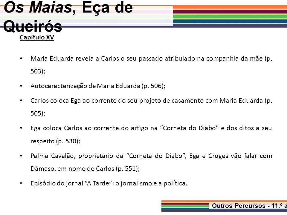 Os Maias, Eça de Queirós Outros Percursos - 11.º ano Capítulo XV Maria Eduarda revela a Carlos o seu passado atribulado na companhia da mãe (p. 503);