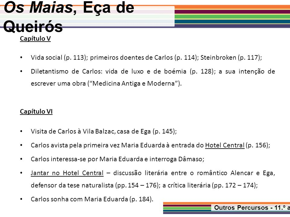 Os Maias, Eça de Queirós Outros Percursos - 11.º ano Capítulo VII Craft, o íntimo de Carlos (p.