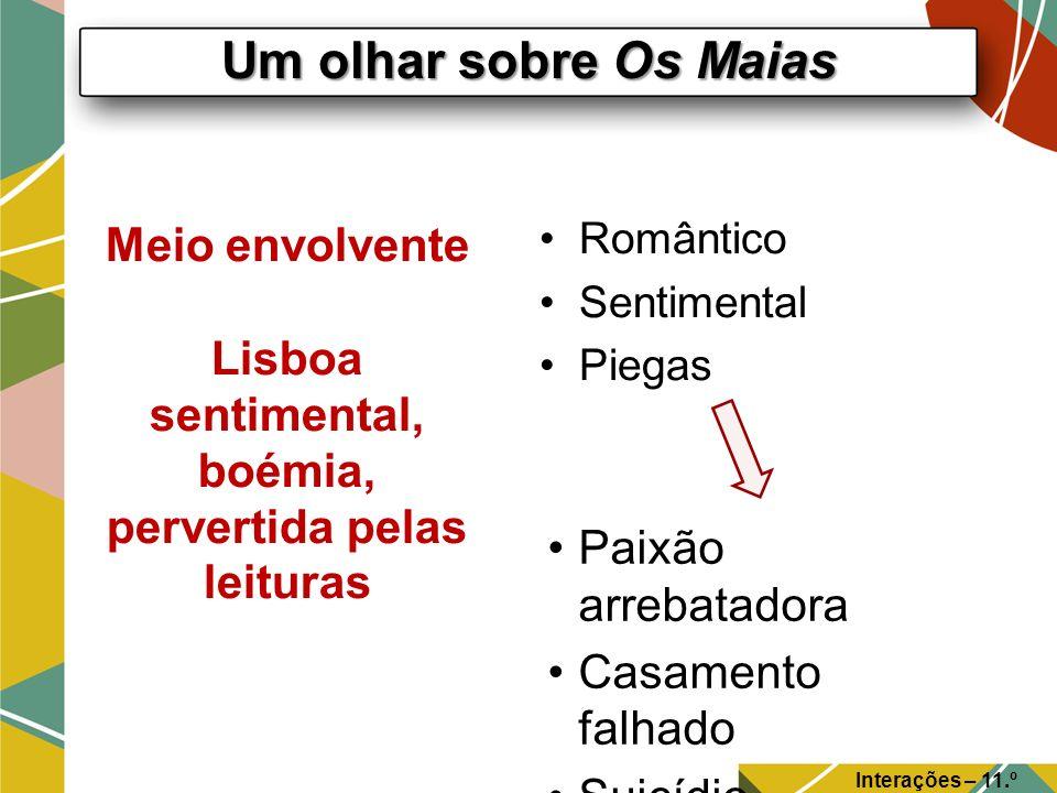 Um olhar sobre Os Maias Interações – 11.º Ano Meio envolvente Lisboa sentimental, boémia, pervertida pelas leituras Romântico Sentimental Piegas Paixã