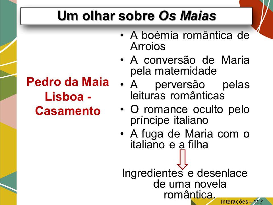 Um olhar sobre Os Maias Interações – 11.º Ano Pedro da Maia Lisboa - Casamento A boémia romântica de Arroios A conversão de Maria pela maternidade A p