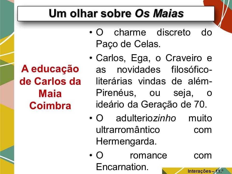Um olhar sobre Os Maias Interações – 11.º Ano A educação de Carlos da Maia Coimbra O charme discreto do Paço de Celas. Carlos, Ega, o Craveiro e as no
