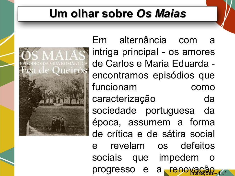 Um olhar sobre Os Maias Interações – 11.º Ano Em alternância com a intriga principal - os amores de Carlos e Maria Eduarda - encontramos episódios que
