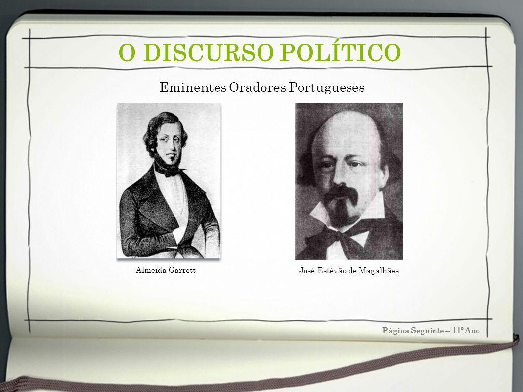 O DISCURSO POLÍTICO João Baptista da Silva Leitão de Almeida Garrett (1799 Porto -1854 Lisboa) A extraordinária influência de que Garrett gozou na sociedade portuguesa (…) é uma irradiação de toda a sua pessoa (…) pelos propósitos de educador, de interventor público, na política e na estética.
