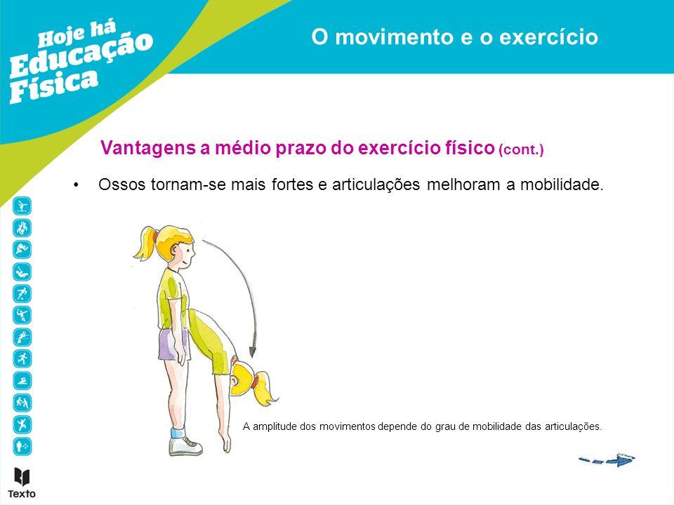 Vantagens a médio prazo do exercício físico (cont.) Ossos tornam-se mais fortes e articulações melhoram a mobilidade. O movimento e o exercício A ampl