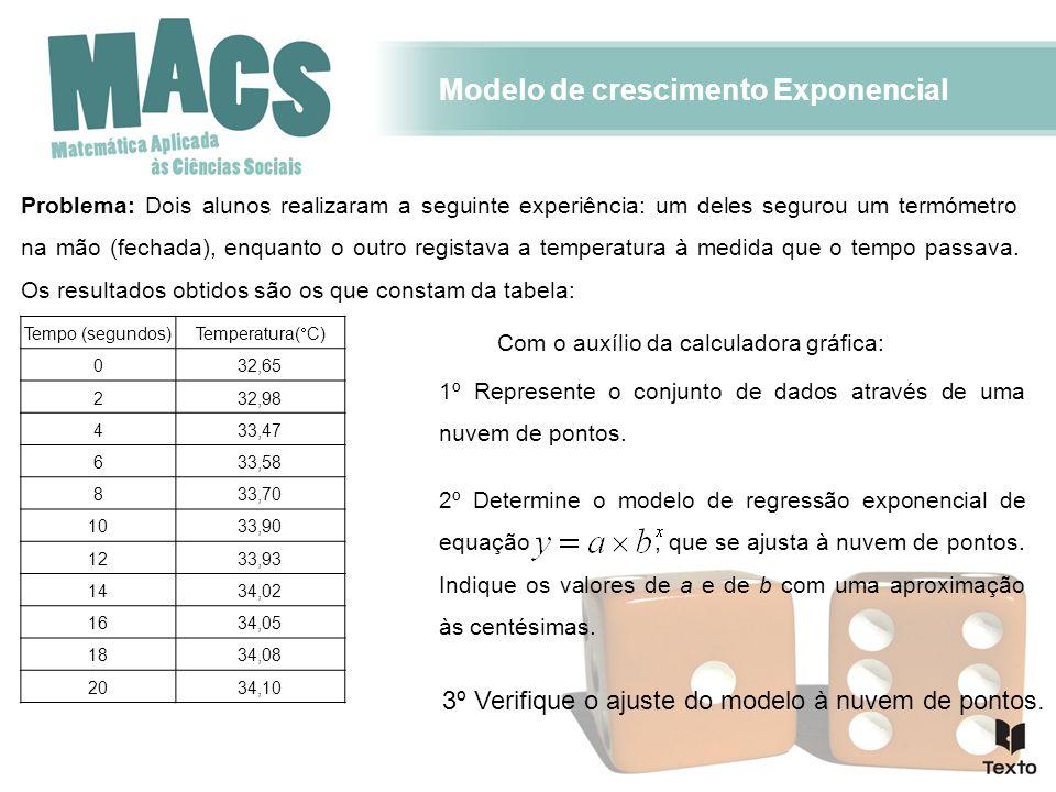 Modelo de crescimento Exponencial Problema: Dois alunos realizaram a seguinte experiência: um deles segurou um termómetro na mão (fechada), enquanto o outro registava a temperatura à medida que o tempo passava.
