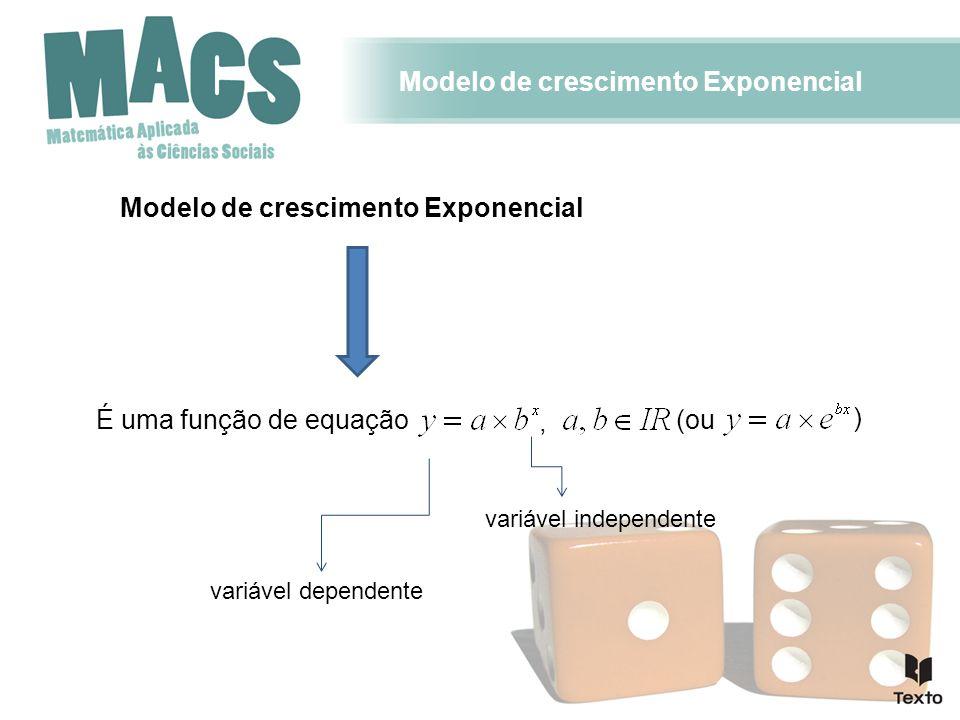 Modelo de crescimento Exponencial É uma função de equação variável dependente variável independente, (ou )