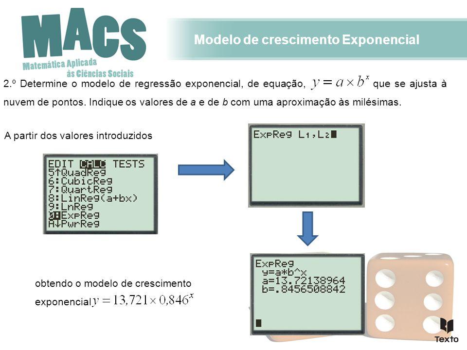 Modelo de crescimento Exponencial 2.º Determine o modelo de regressão exponencial, de equação, que se ajusta à nuvem de pontos.
